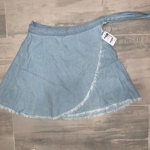 Frayed edge denim wrap skirt